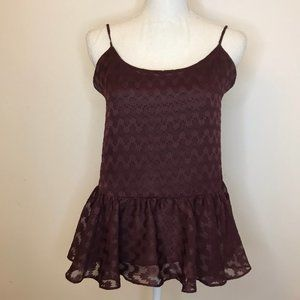 Metaphor Maroon Peplum Tank Adjustable Straps Sm